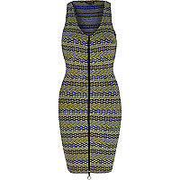 Green printed jersey zip bodycon dress