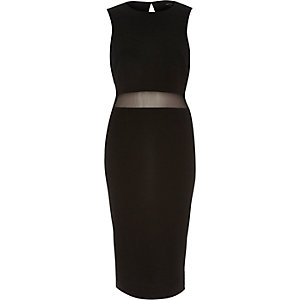 Black mesh panel 2-in-1 bodycon dress
