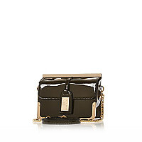 Dark green patent luggage tag cross body bag
