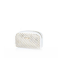 White laser cut makeup bag