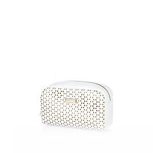 White laser cut makeup bag