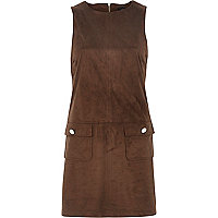Brown faux suede shift dress