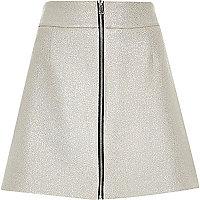 Metallic silver zip front A-line mini skirt