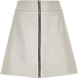 Metallic silver zip front A-line mini skirt