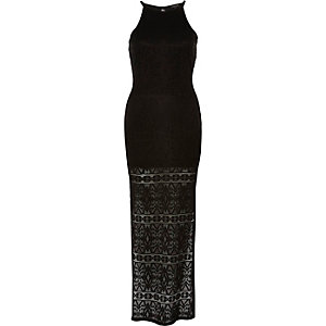 Black high neck maxi lace bodycon dress