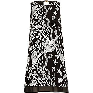 Black paisley print swing dress