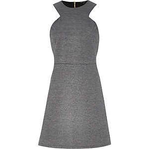 Grey sleeveless A-line dress