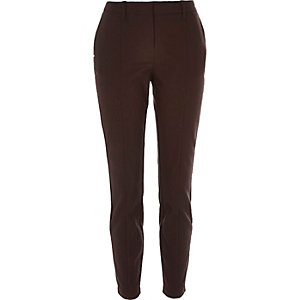 Dark brown stitch trim slim trousers
