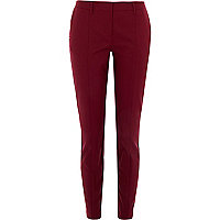 Dark red stitch trim slim trousers