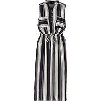 Navy stripe sleeveless shirt dress
