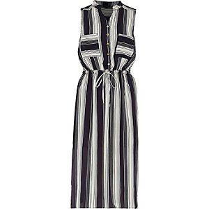 Navy stripe sleeveless shirt dress