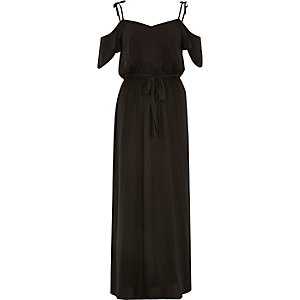 Black satin cold shoulder maxi dress