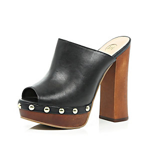 Black leather stud platform mules