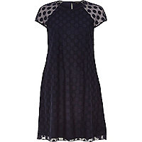 Navy blue mesh spot smock swing dress
