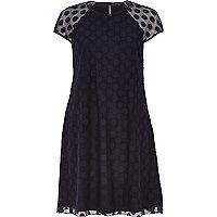 Navy blue mesh spot smock swing dress