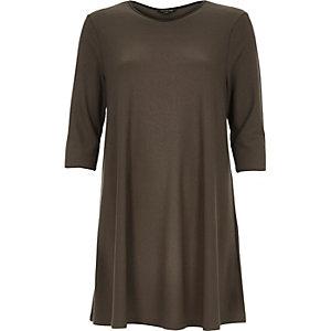 Khaki jacquard swing dress