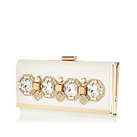 Cream gem embellished clip top purse