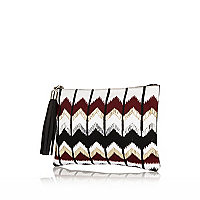 Red zig zag embroidered clutch bag