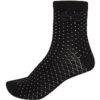 Black spotted bow ankle socks