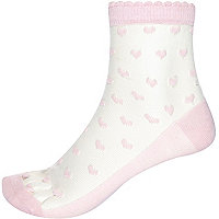 Pink heart print mesh ankle socks