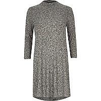 Grey marl ribbed turtle neck swing dress