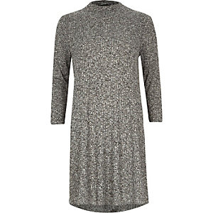 Grey marl ribbed turtle neck swing dress
