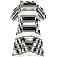 White stripe strappy cold shoulder dress