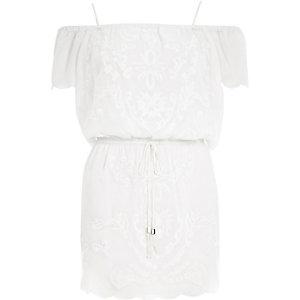 White Pacha embroidered bardot dress