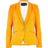 Bright orange long sleeve tailored blazer