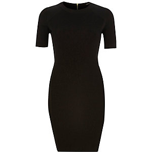 Black textured jersey sporty bodycon dress