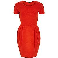 Red textured tulip dress
