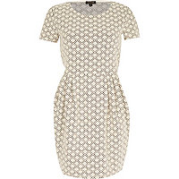 Cream geometric print textured tulip dress