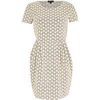 Cream geometric print textured tulip dress