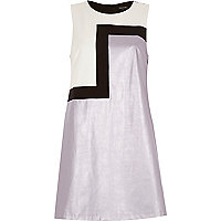 Purple metallic asymmetric print shift dress