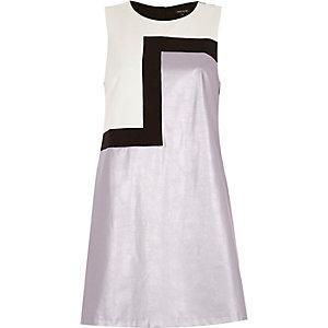 Purple metallic asymmetric shift dress