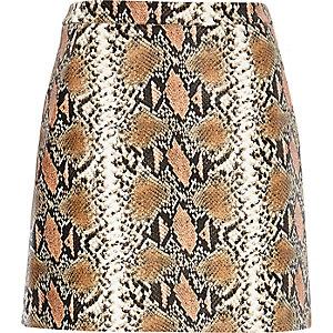 Beige snake print A-line skirt