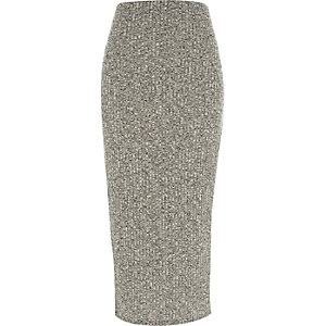 Grey marl ribbed maxi skirt