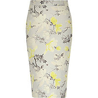 Yellow floral print jersey pencil skirt