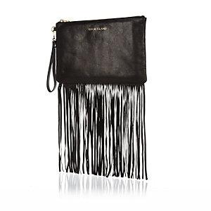 Black leather fringed clutch bag