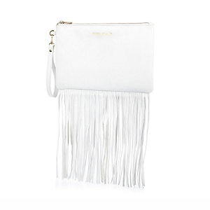 White leather fringed clutch bag