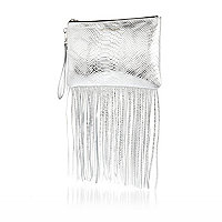 Silver snake print leather fringed clutch bag