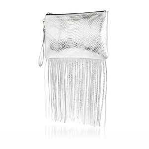 Silver snake print leather fringed clutch bag