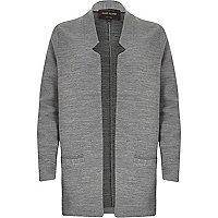 Grey marl jersey inverse collar blazer jacket