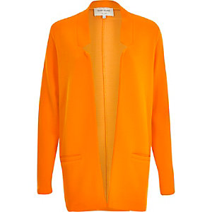 Orange jersey inverse collar blazer jacket