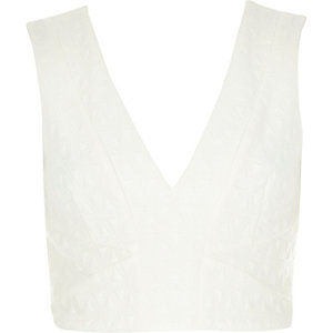 Cream textured deep V crop top