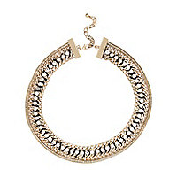 Gold tone woven chain necklace
