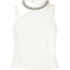 Cream asymmetric embellished neck crop top