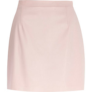 Light pink leather-look A-line skirt