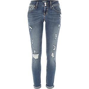 Mid wash distressed Matilda skinny jeans