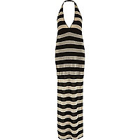 Black and gold stripe halter neck maxi dress